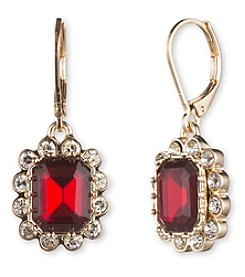 Nine West® Goldtone Square Red Stone Drop Earrings