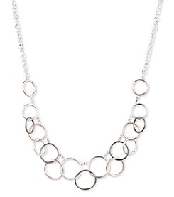 Nine West® Tri Tone Linked Circle Necklace