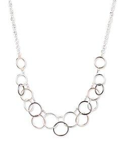 Nine West® Tri Tone Linked Circle Necklace