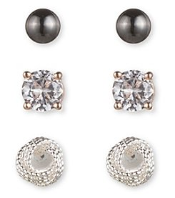 Nine West® Trio Of Tri Tone Stud Earrings