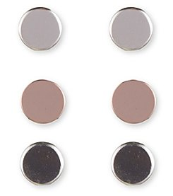 Nine West® Trio Of Silvertone, Rose Goldtone And Hematite Button Earrings