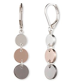 Nine West® Tri Tone Linear Drop Earrings