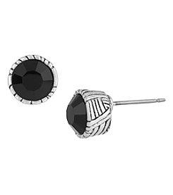 The Sak® Silvertone 6mm Faceted Stone Post Earrings