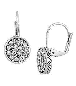 The Sak® Silvertone Pave Circle Drop Earrings