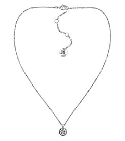 The Sak® Silvertone Pave Circle Pendant Necklace