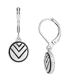 The Sak® Silvertone Etched Circle Drop Earrings