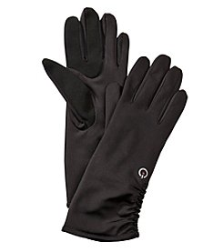 Fownes® Ruched Leather Stretch Gloves