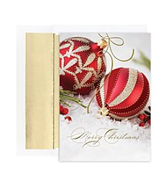 Masterpiece Studios Red & Gold Ornaments Boxed Holiday Greeting Cards