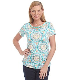 Ruby Rd.® Embellished Side Ruched Knit Top