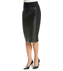 Calvin Klein Faux Leather-Front Pencil Skirt
