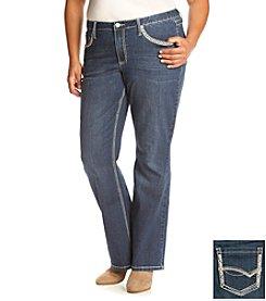 Earl Jean® Plus Size V-Stitch Flap Back Pocket Bootcut Jeans