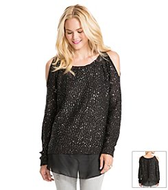 Jessica Simpson Cold Shoulder Sequin Sweater