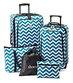 Relativity® Aqua Chevron Expandable 5-pc. Luggage Set