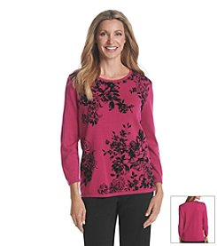 Alfred Dunner® Oscar Night Floral Flocking Sweater