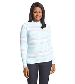 Studio Works® Ribbed Stripe Mock Neck Sweater
