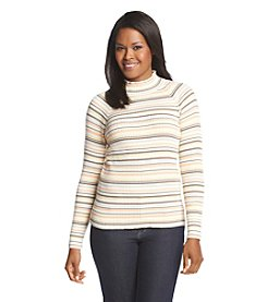 Studio Works® Ribbed Stripe Mockneck Sweater