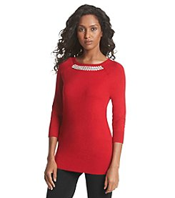 Chelsea & Theodore® Beaded Neck Sweater