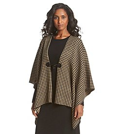 Lennie Houndstooth Toggle Closure Poncho