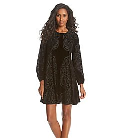 Taylor Dresses Velvet Burnout Swing Dress