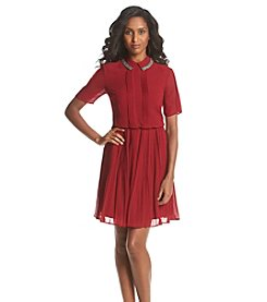 Andrew Marc® Pleated Shirt Dress