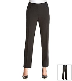 Tahari ASL® Bi-Stretch Faux Leather Detail Pants