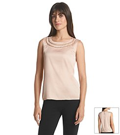 Calvin Klein Woven Top With Neck Detail
