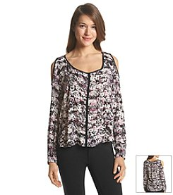 DKNY JEANS® Brushed Floral Print Top