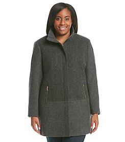 Nautica® Plus Size Placket Herringbone Coat