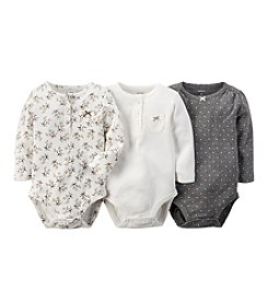 Carter's® Baby Girls' 3-Pack Long Sleeve Bodysuits