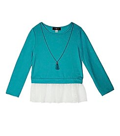 Amy Byer Girls' 7-16 Solid Lace Hem Sweater