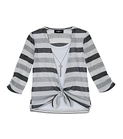 Amy Byer Girls' 7-16 Metallic Striped Tie Front Top