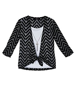 Amy Byer Girls' 7-16 Metallic Chevron Striped Tie Front Top