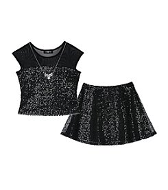 Amy Byer Girls' 7-16 Shimmery Skirt Set