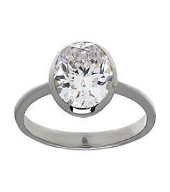 Balentino® Sterling Silver White Swarovski® Cubic Zirconia Bezel Set Ring