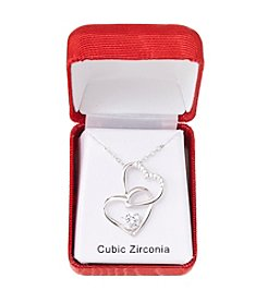 Holiday Cubic Zirconia Heart Silvertone Pendant Necklace