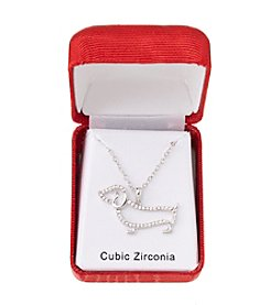 Holiday Cubic Zirconia Dachshund Dog Silvertone Pendant Necklace