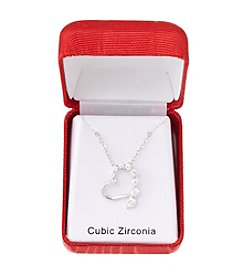 Holiday Cubic Zirconia Open Heart Silvertone Pendant Necklace