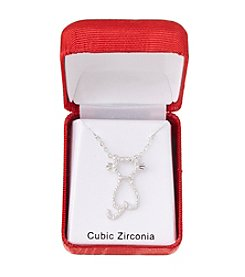 Holiday Cubic Zirconia Cat Silvertone Pendant Necklace