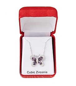 Holiday Cubic Zirconia Butterfly Silvertone Pendant Necklace