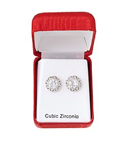 Holiday Cubic Zirconia Vintage Silvertone Earrings