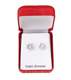 Holiday Cubic Zirconia Round Silvertone Earrings
