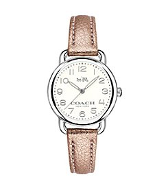 COACH DELANCY SILVERTONE LEATHER STRAP WATCH