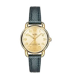 COACH DELANCY GOLDTONE LEATHER STRAP WATCH