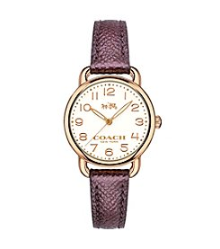 COACH DELANCY ROSE GOLDTONE LEATHER STRAP WATCH