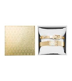 Michael Kors® Goldtone Logo Plaque Hinge and Uptown Astor Buckle Bangle Bracelets