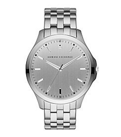 A|X Armani Exchange Men's Silvertone Brushed Stainless Steel Single Link Bracelet Watch