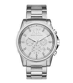 A|X Armani Exchange Women's Silvertone Brushed Stainless Steel H Link Bracelet Watch