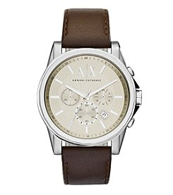 A|X Armani Exchange Men's Silvertone Brushed Stainless Steel And Leather Strap Watch