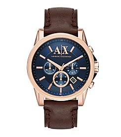 A|X Armani Exchange Men's Rose Goldtone Brushed Stainless Steel Brown Leather Watch