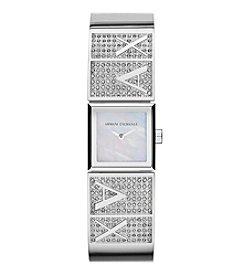 A|X Armani Exchange Womens Silvertone Polished Stainless Steel Half Bangle Watch